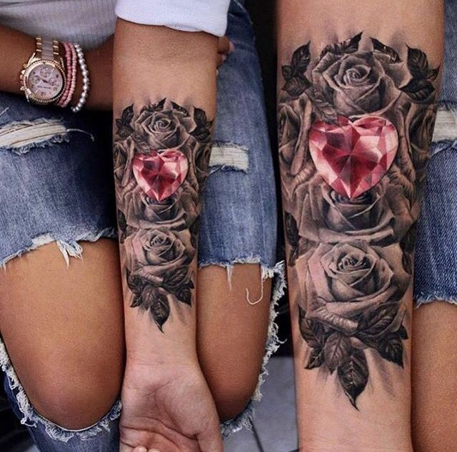 Black And White Roses With A Red Diamond Heart In The Middle Tattoos Rose Tattoos Matching Couple Tattoos