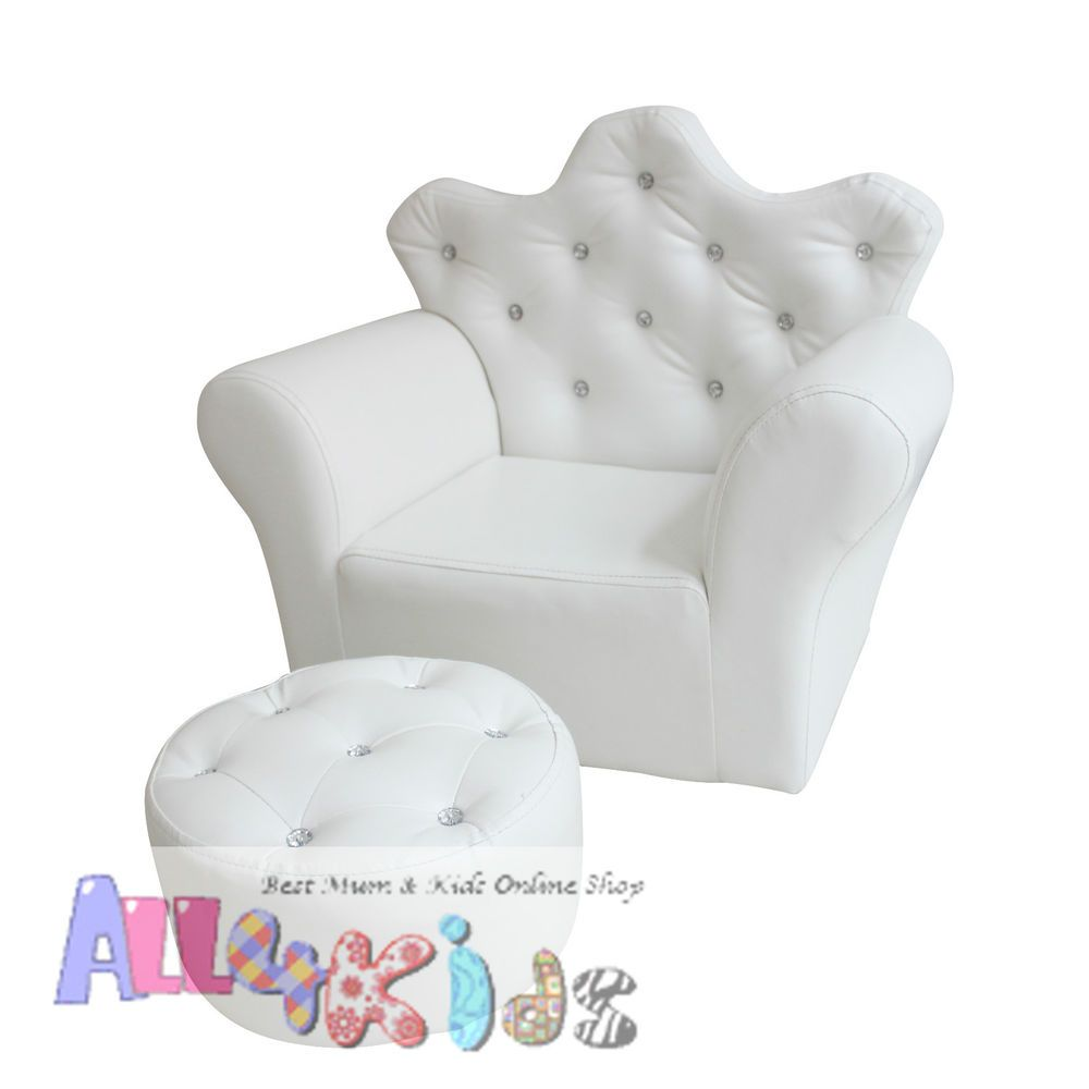 Toddler Couch Chair New White Princess Crown Kids Toddler Sofa Couch Chair With