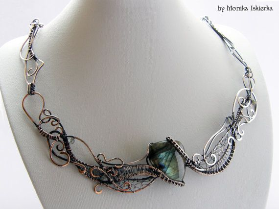 Chaos III wire wrapped necklace labradorite handmade by MeaJewelry