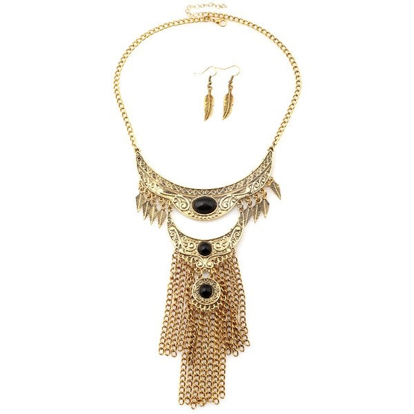4.52$  Buy here - http://di7im.justgood.pw/go.php?t=188892303 - A Suit of Engraved Floral Leaf Moon Chains Necklace and Earrings 4.52$