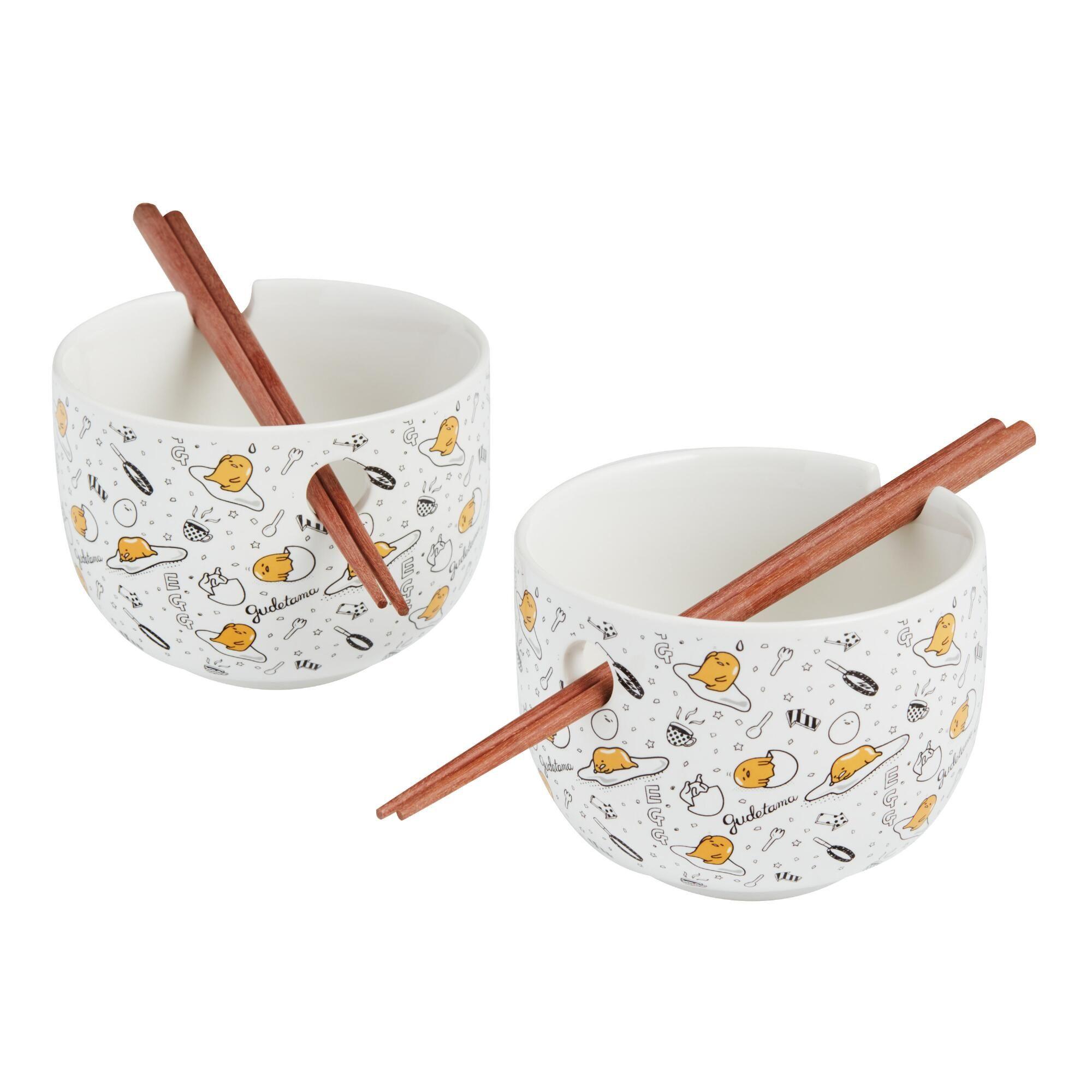 Gudetama noodle bowl and chopsticks set in 2020