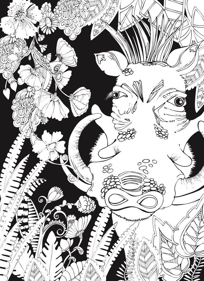 Creative Haven MIDNIGHT SAFARI Coloring Book: Wild Animal Designs on ...