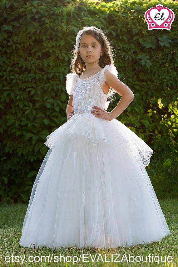 White flower girl dress white tutu dress white bridesmaid flower white flower girl dress white tutu dress white bridesmaid mightylinksfo Images