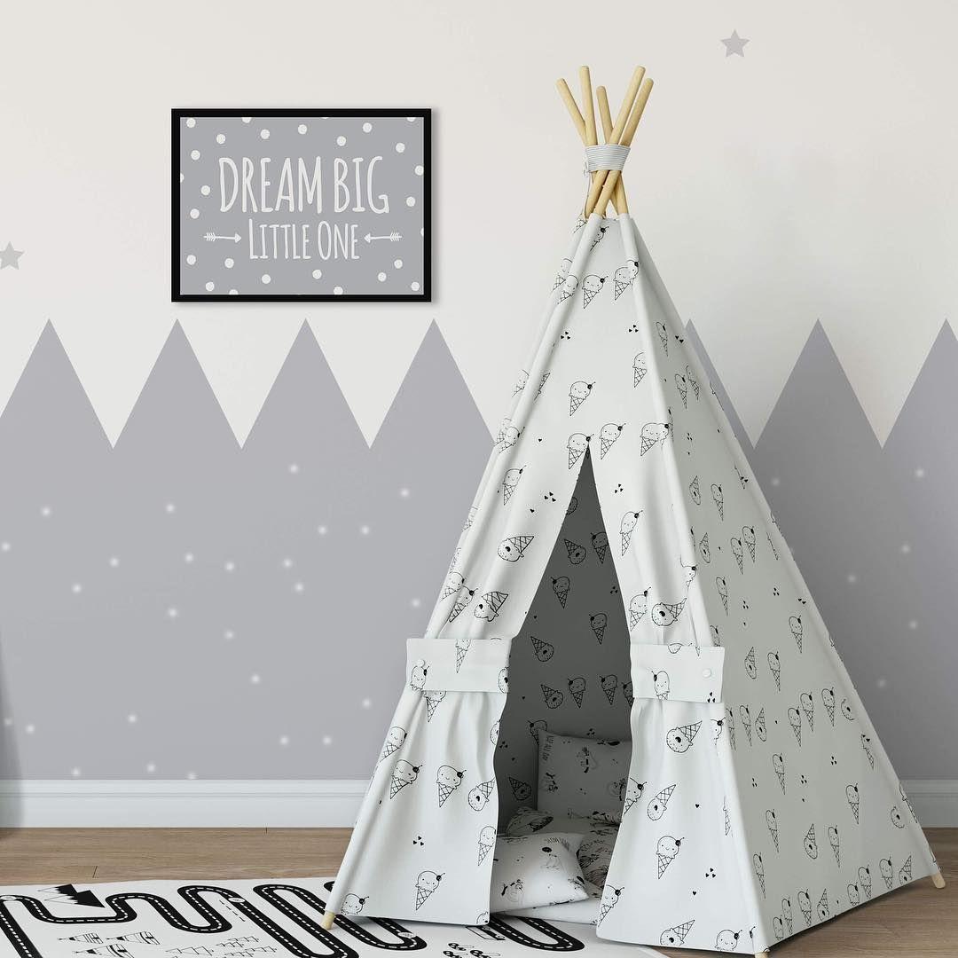Dream Big Little One-Lune et étoiles-chambre nursery autocollant mur Art Citation