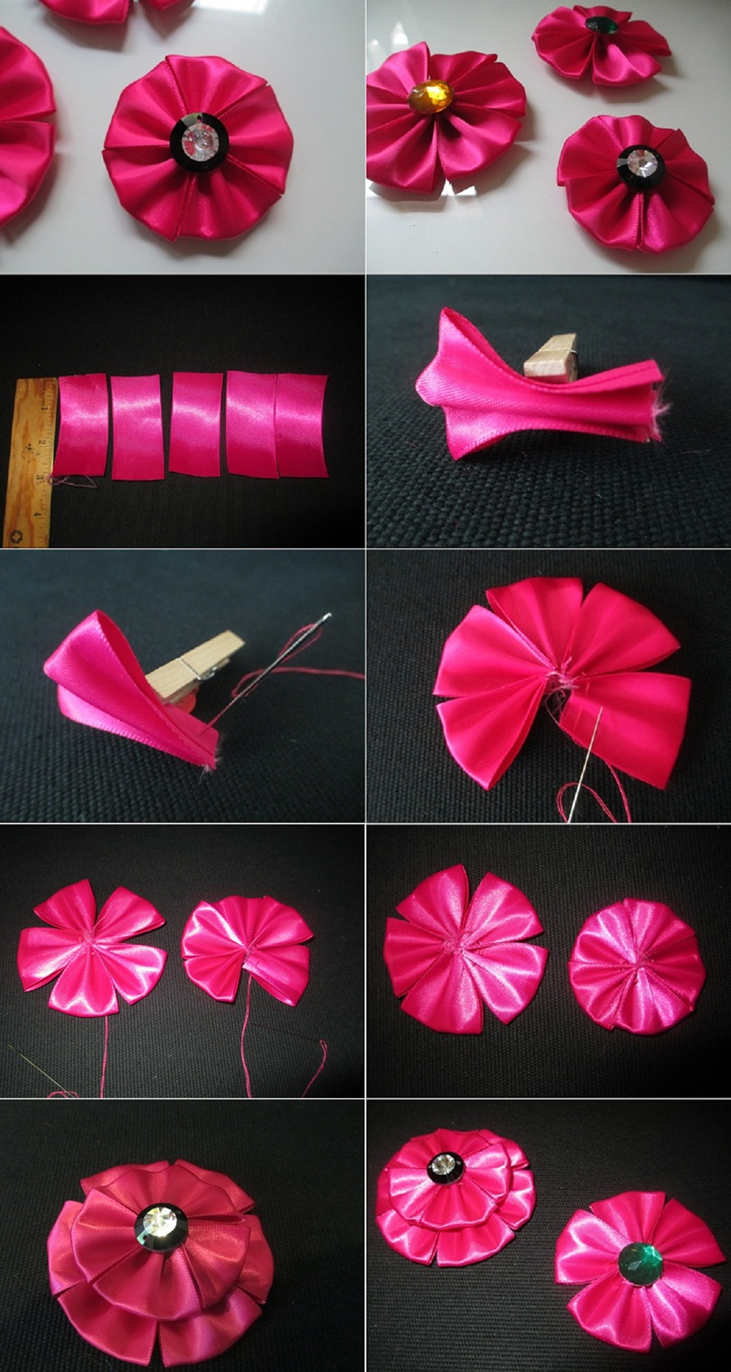 Diy Tutorial Fabric Flowers How To Make A Ribbon Flower For Hair Clips Brooches Bead Cord Fabric Flowers Diy Ribbon Flower Tutorial Fabric Flowers