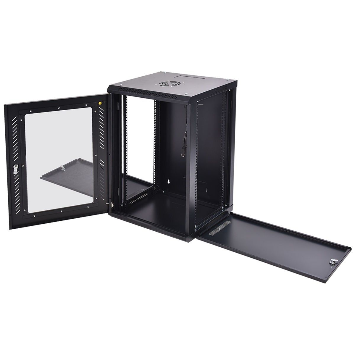 18u Wall Mount Network Server Data Cabinet W Fan Server Cabinet Data Cabinet Wall Mount
