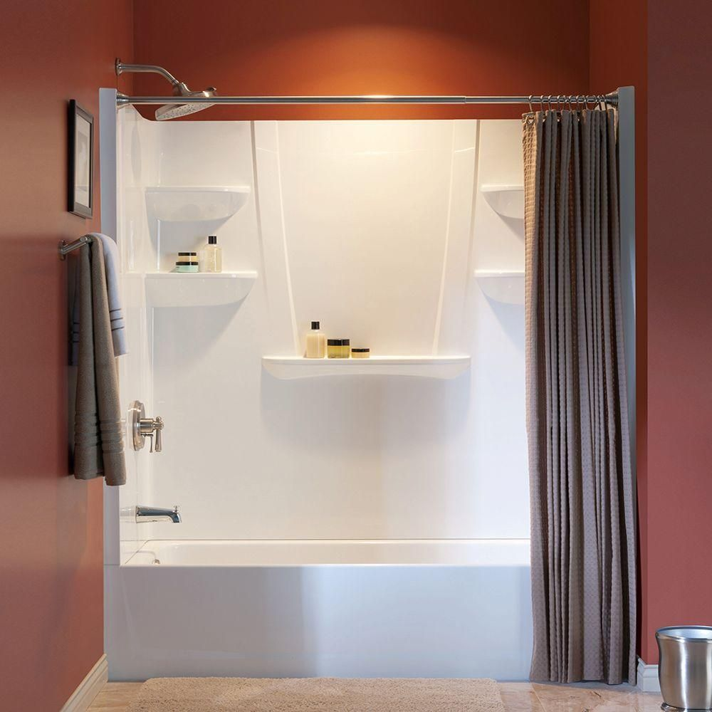 Aquatic A2 30 In X 60 In X 76 In 4 Piece Shower Kit W Left Drain Alcove Tub And Direct To Stud Shower Wall Panels In White 6030ctsl Aw The Home Depot Shower Wall