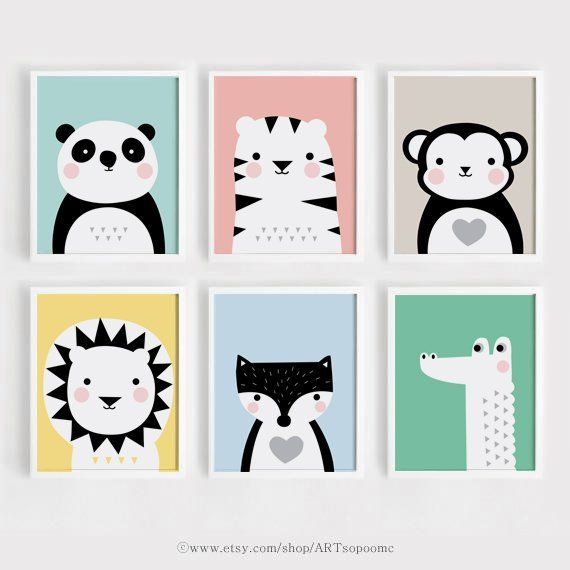 Printable Nursery Wall Art Set Of 6 Poster Baby Art Kids Room Decor 5x7,  8x10, A4 Panda Tiger Lion A
