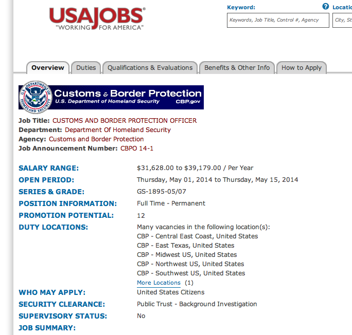 resume for customs and border protection officer