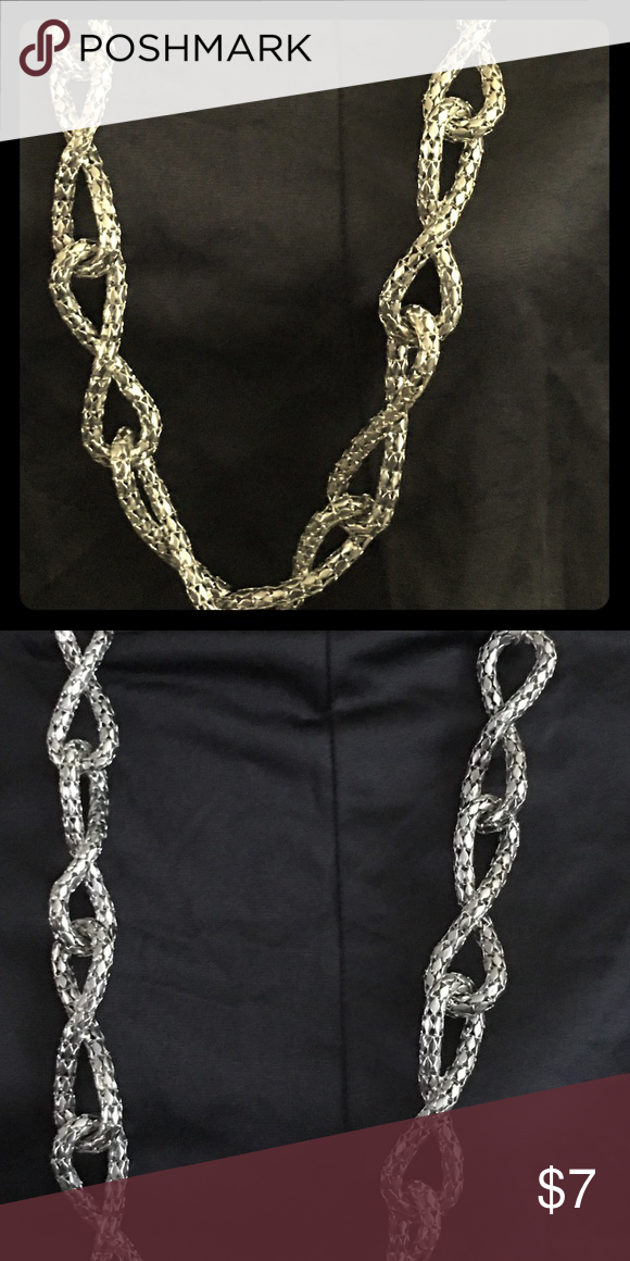 Silver rope necklace, long mesh material. 22 inch mesh silver wiring necklace Jewelry Necklaces