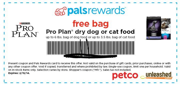 Free Bag Of Pro Plan Dry Cat Or Dog Food For Petco Pals Rewards