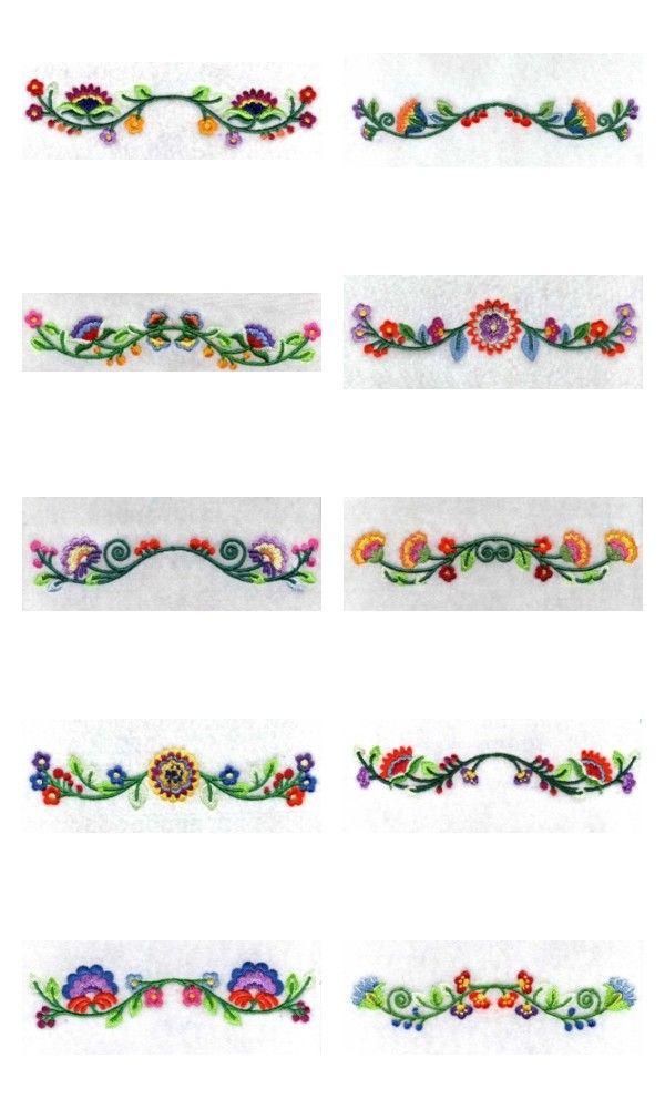 Jacobean Borders Embroidery Machine Design Details