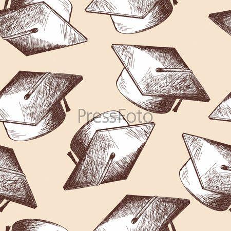 Бесшовный фон с шапкой выпускника