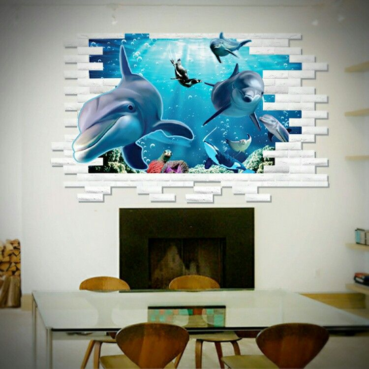 3D Wall Stickers Removable Sea Shark Room Decal Gift Bathroom Gift
