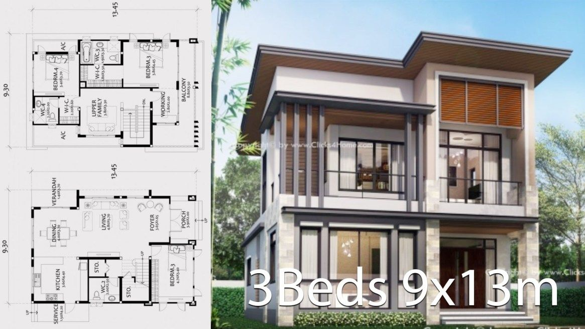 Home Design Plan 9x13m With 3 Bedrooms Di 2020 Dekorasi Rumah