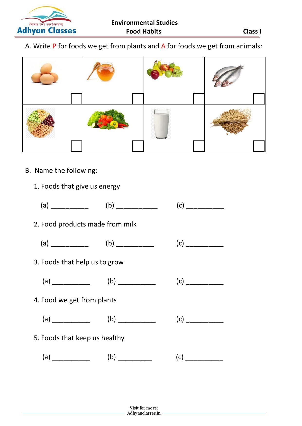 Food Habits Worksheets for Grade I   Food [ 1753 x 1241 Pixel ]