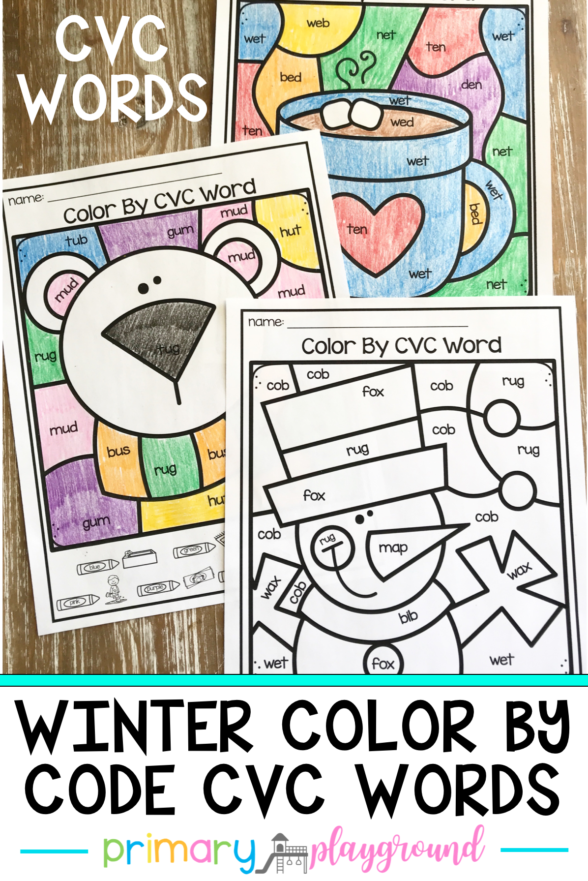 Winter Color By Code Cvc Words In