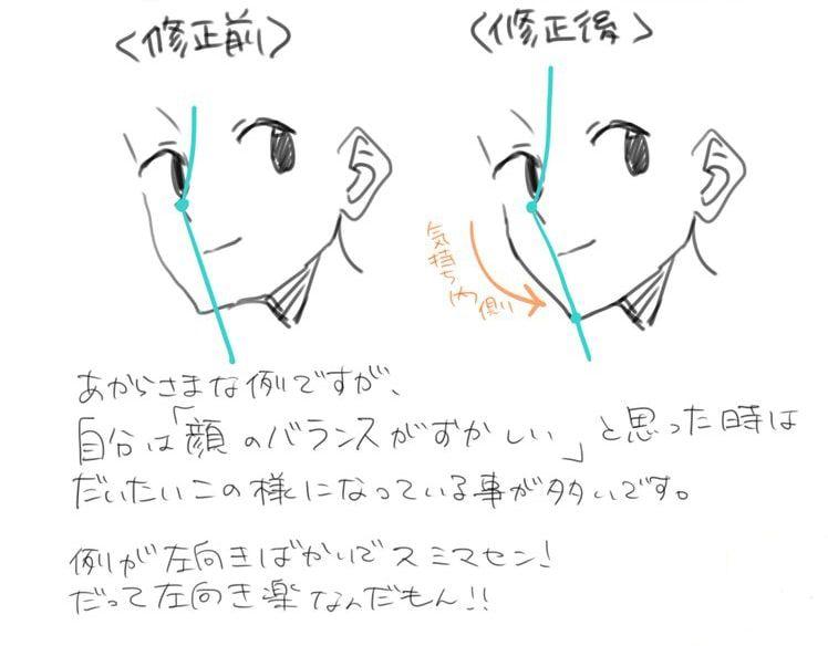 バランスの良い顔の描き方 手順9 顔のスケッチ 顔 描き方 スケッチのテクニック