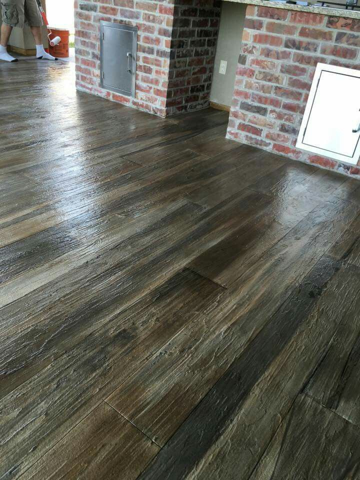 Concrete Wood Floors : Concrete stained and textured with overlayment to look