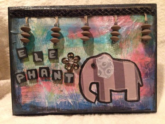 Mixed Media Elephant Collage Wood Plaque Art by amazingstacy, $25.00
