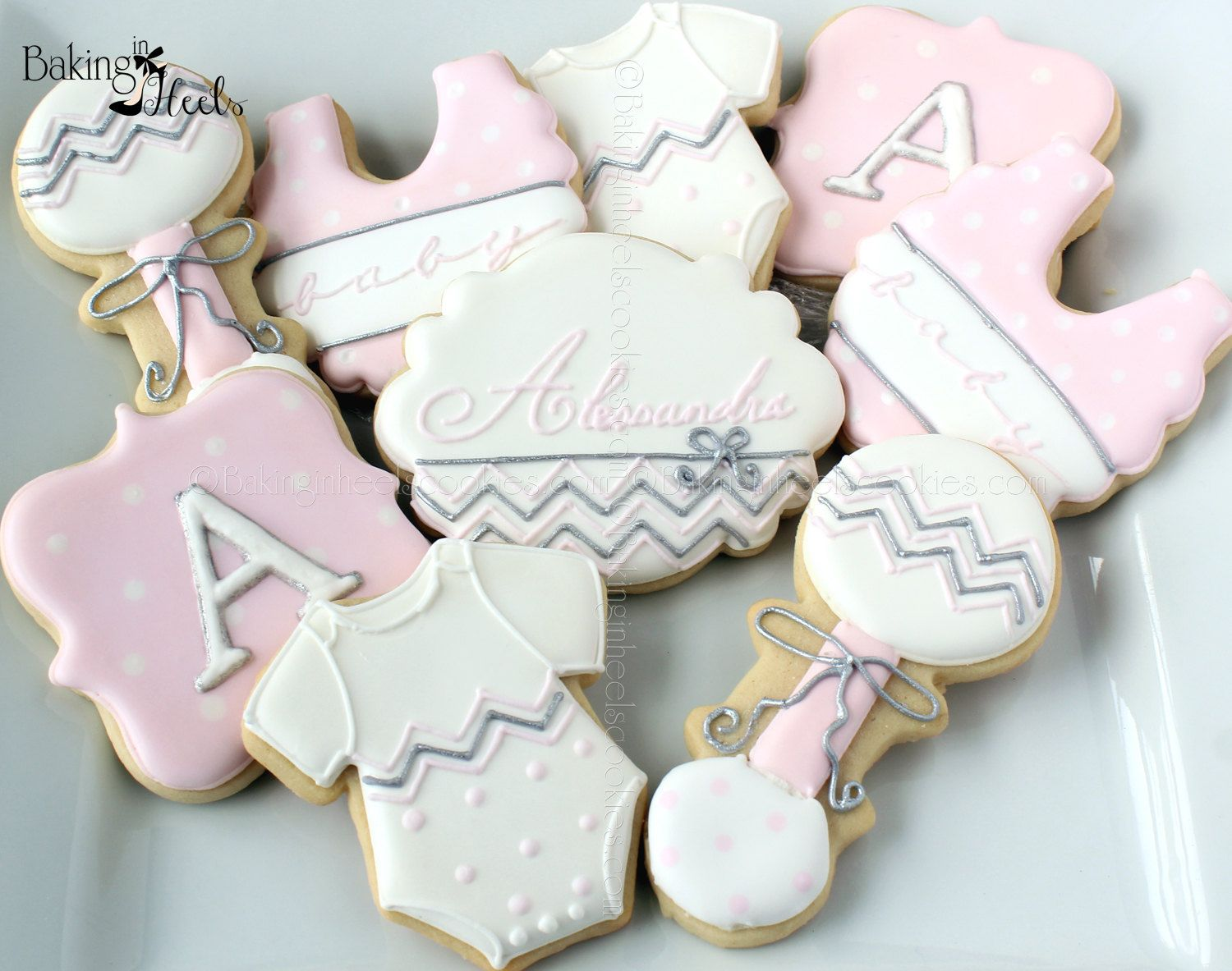 Chevron Baby Shower Cookies, It's A Girl Decorated Cookies, Baby Bib Cookies, Baby Rattle Cookies, Polka Dot Cookies, Baby Shower Cookies by Bakinginheels on Etsy https://www.etsy.com/listing/204775683/chevron-baby-shower-cookies-its-a-girl