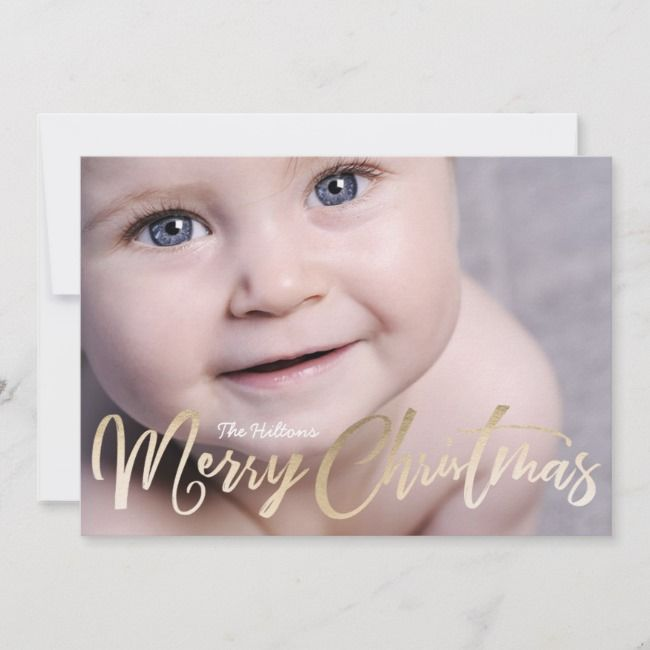Merry Christmas Lettering Foil Christmas Photo Holiday Card