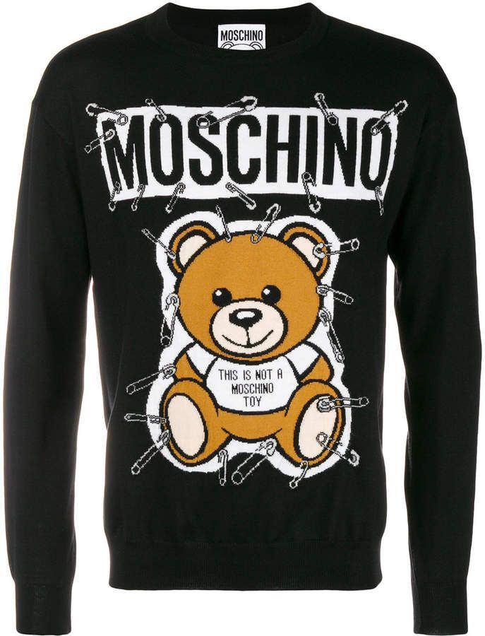 02a6b4dc5a Moschino safety-pin bear sweater | Products in 2019 | Sweaters ...