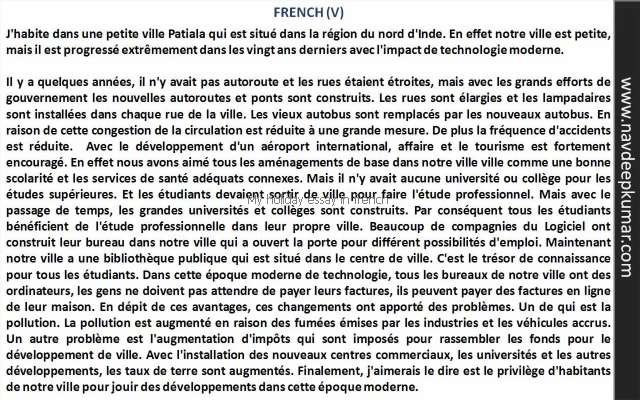 My Holiday Essay In French  Lanpituho  Study Student Friendship  My Holiday Essay In French