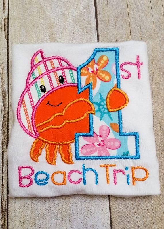 First Beach Trip - Applique Onesie or T-Shirt by ...