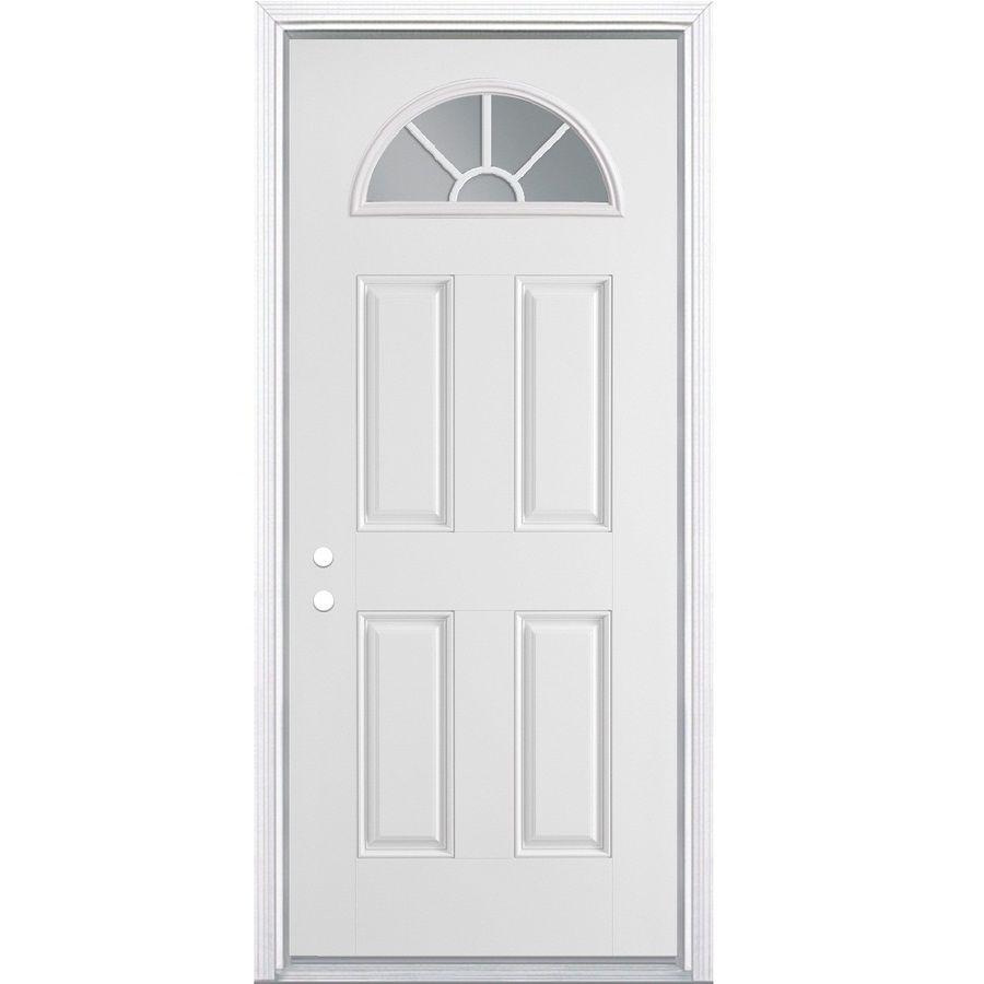 Masonite 36 In X 80 In Steel 1 4 Lite Right Hand Inswing Primed Prehung Single Front Door Brickmould Included Lowes Com Steel Entry Doors Entry Doors 30 Inch Exterior Door