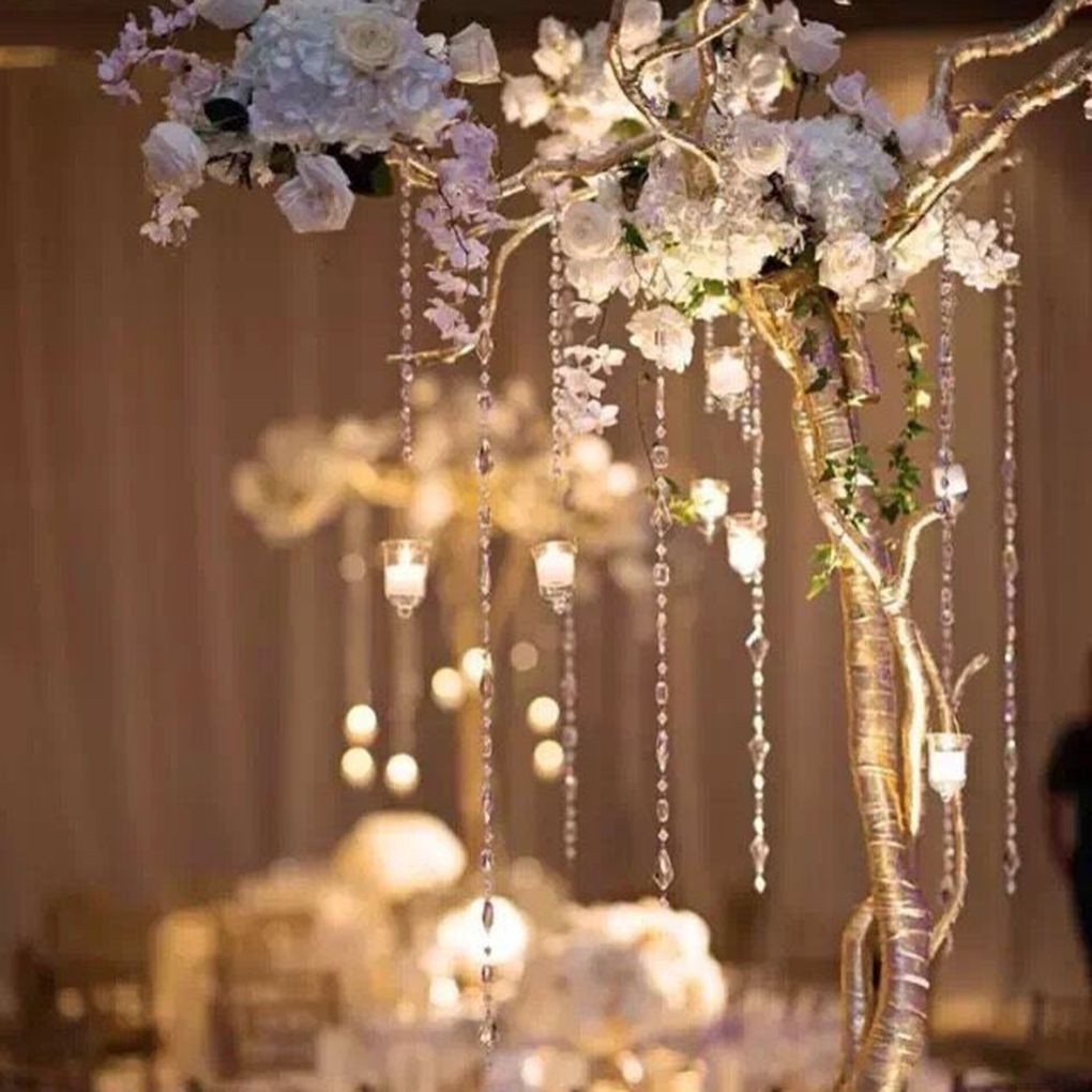 Wedding decorations trees with lights  mm Crystal Clear Acrylic Octagonal Bead Hanging DIY Wedding Decor