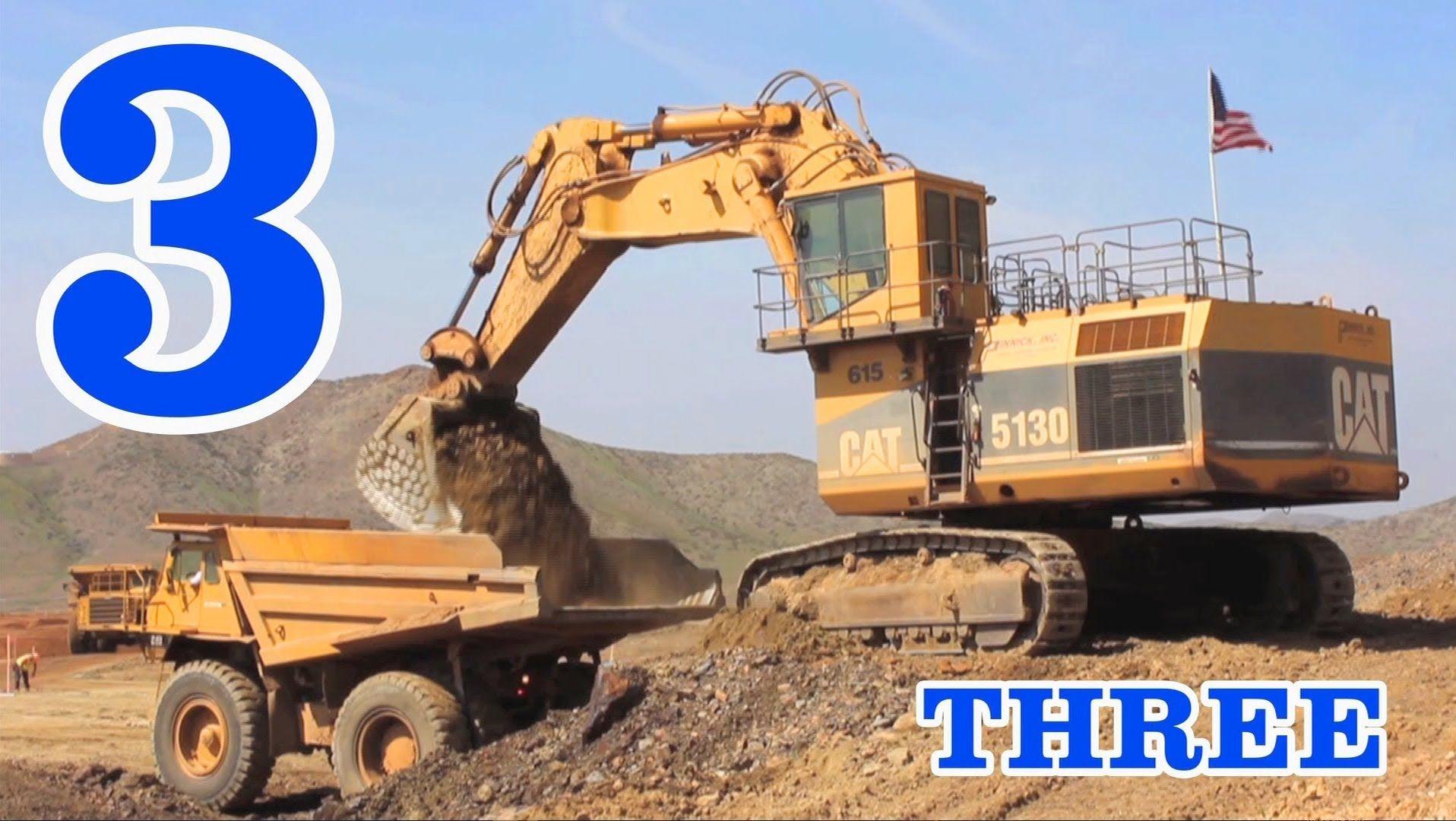 Excavators Amp Dump Trucks Teaching Numbers 1 To 10