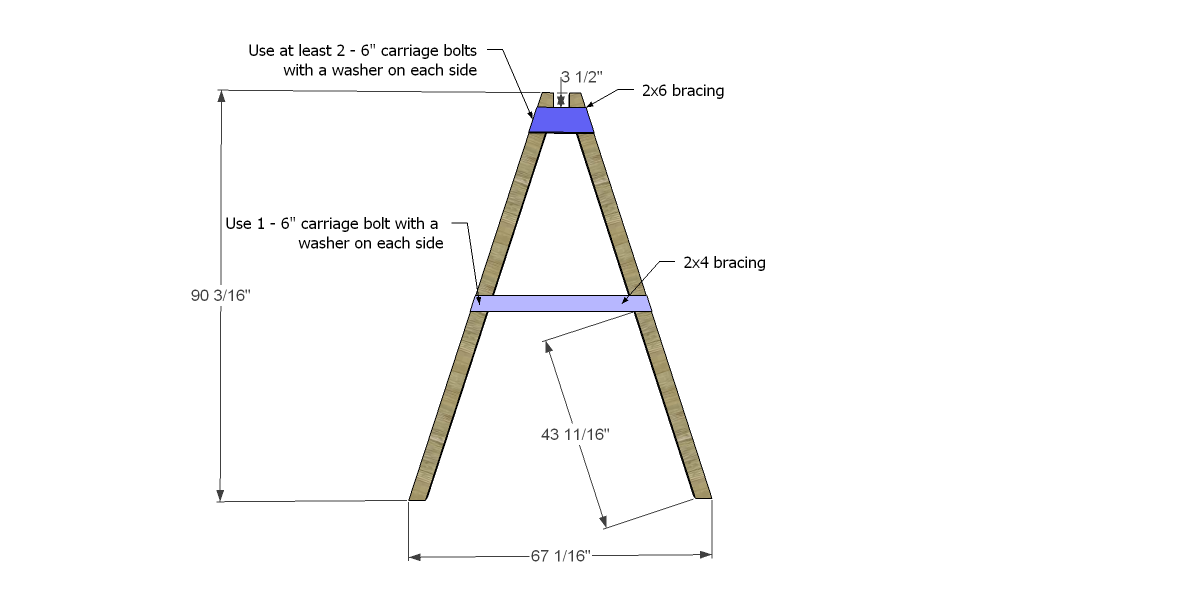 Swing set leg angle bracing 2 for free diy furniture for Outdoor swing frame plans