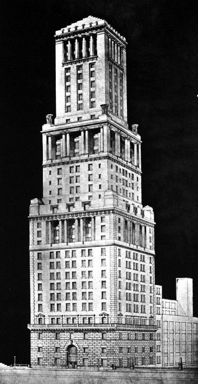 Edward Pierce Casey and Arthur Dillon and A. Durant Sneden, Entry to the Chicago Tribune Tower Competition, 1922