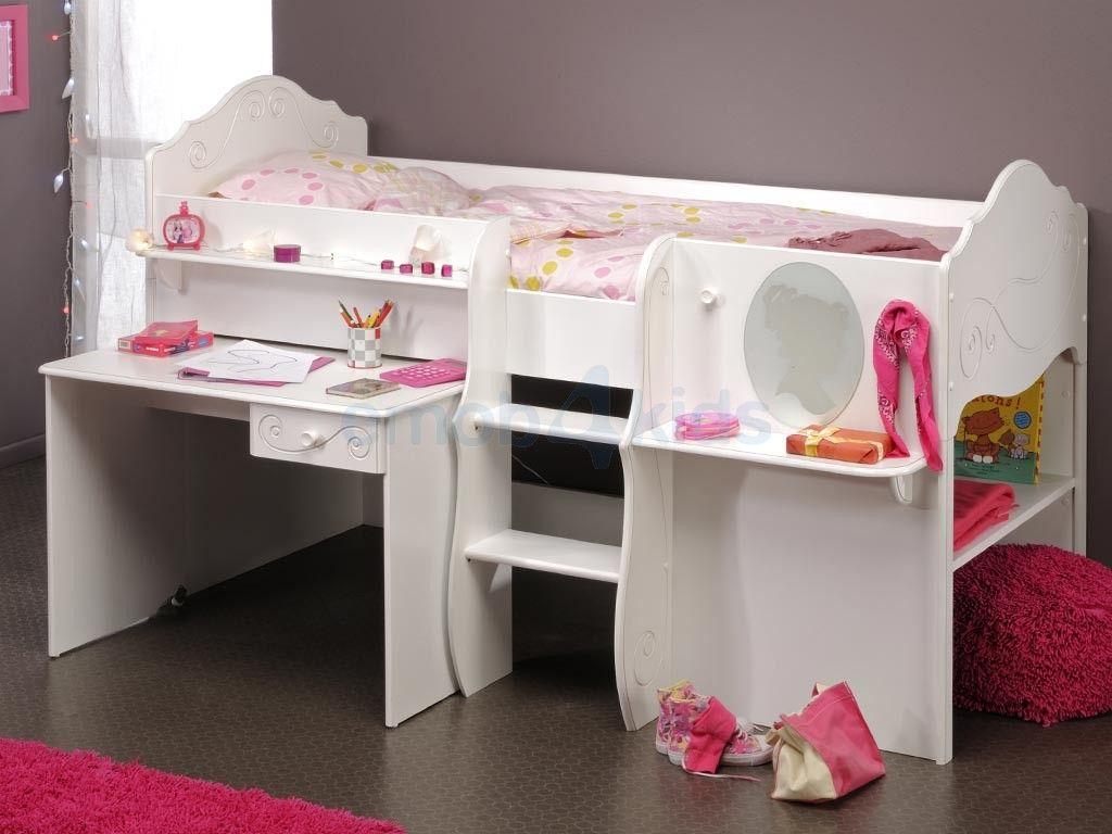 Alice halfhoogslaper meisjeskamer wit hoogslapers met bureau meisjes wit gelakt emob4kids - Deco meisjes slaapkamer ...