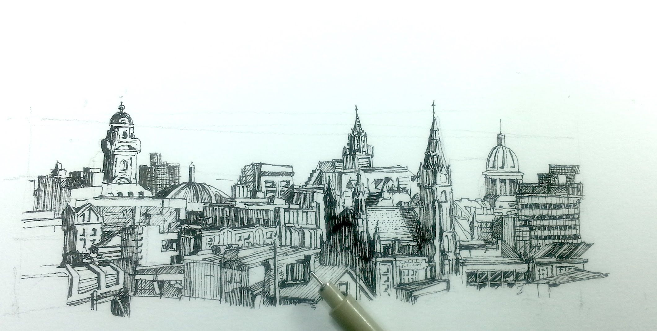 How To Draw A Panoramic City Skyline Or Cityscape With Buildings Skyline Drawing Landscape Sketch Art Inspiration Drawing