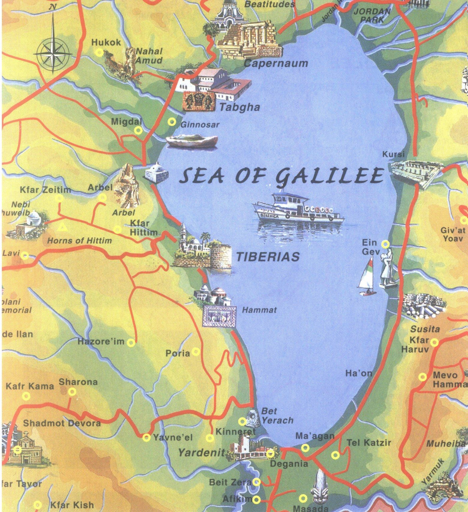 Sea Of Galilee Map Map Israel Sea Of Galilees Sea Of Galilee