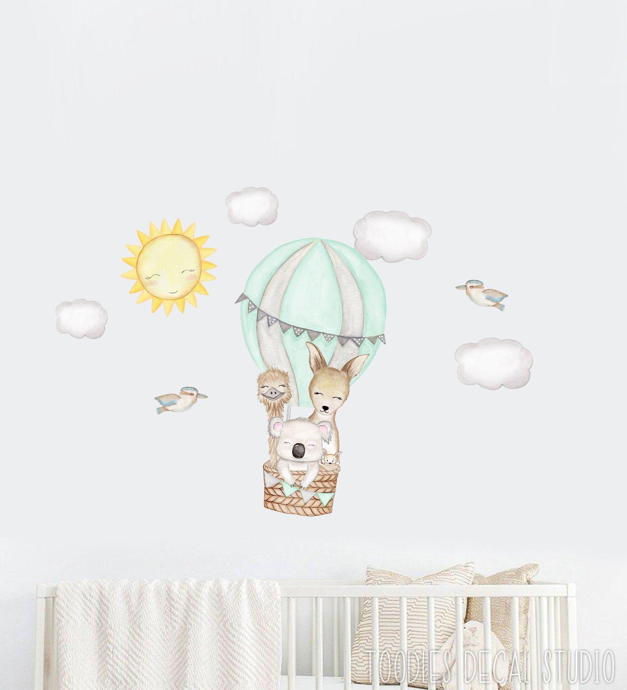 Watercolor Hot Air Balloon Decal Australian Animal Wall Stickers