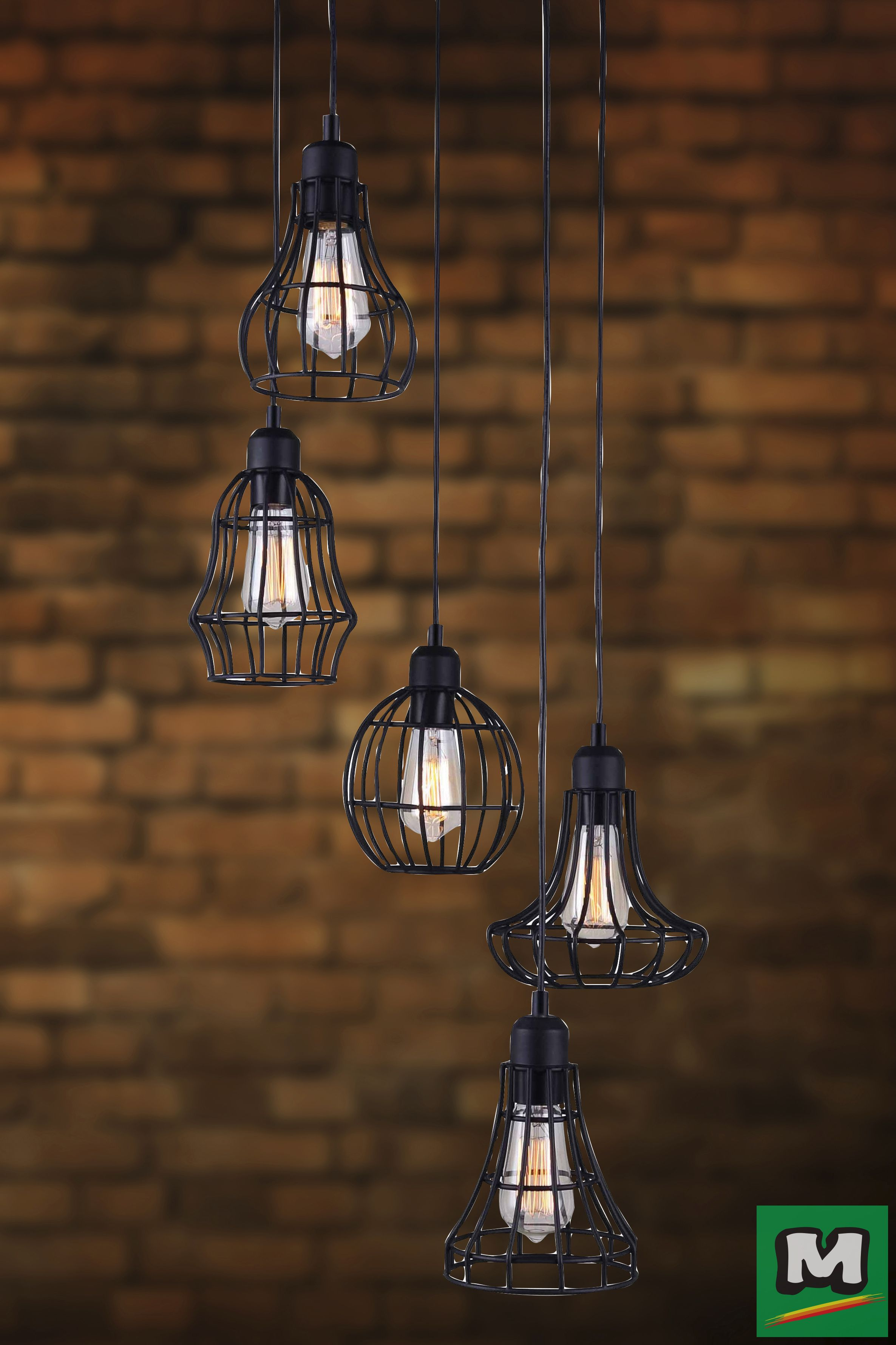 Patriot Lighting Raymond Chandelier with Black Finish and Metal