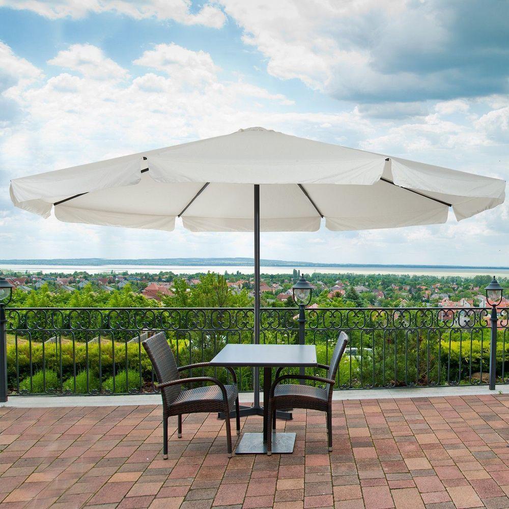Large Patio Umbrella Metal Steel Frame White Parasol Garden