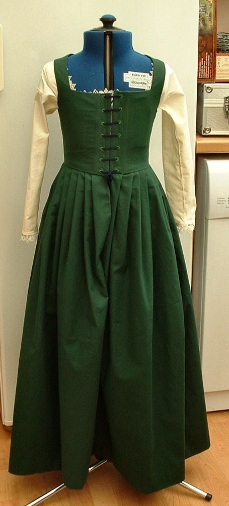 Tudor kirtle and smock, front view - note heavy boning