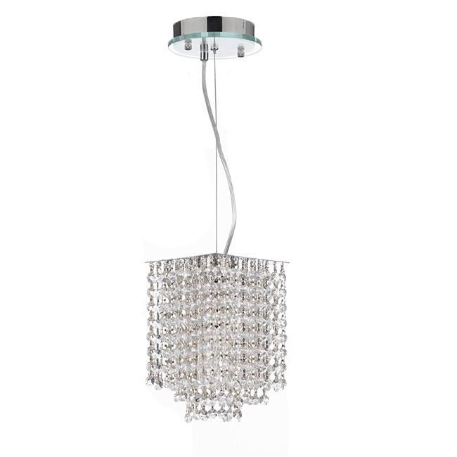 Diamond Life Chrome Finish 1 Light Round Metal Shade Crystal Chandelier Hanging Pendant Ceiling Lamp Fixture