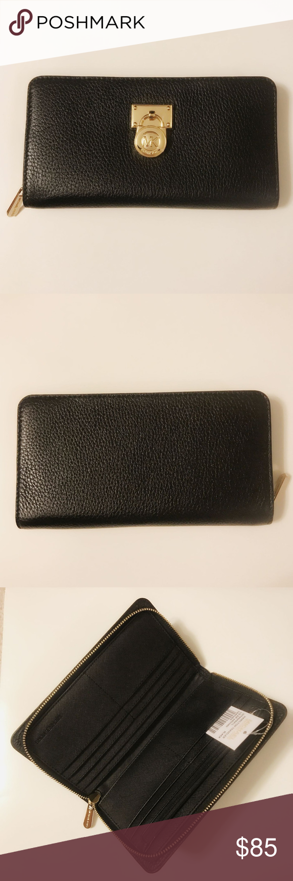 3bac5ba09ffc Michael Kors Hamilton Traveler Zip Around Wallet Michael Kors Hamilton  Traveler Large Wallet Leather Acorn   Black Michael Kors 35T6GHXZ1L New  With Tag 100% ...