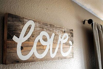 Hand Painted Love Sign On Scrap Wood Valentines