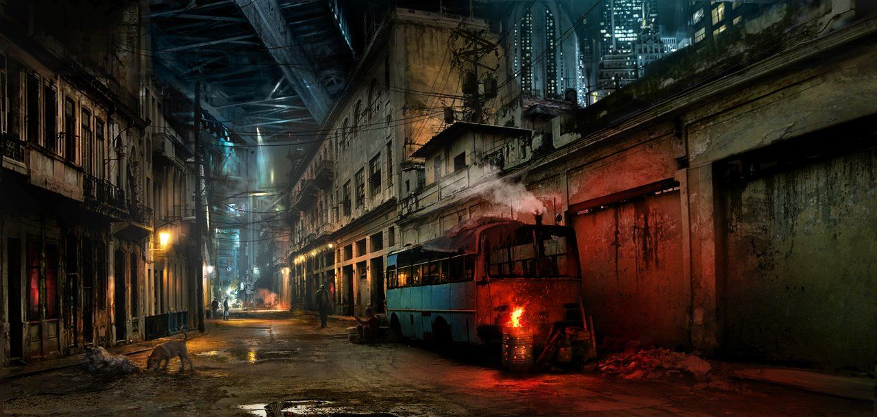Slums Picture 2d Realism Alleyway Skyscrapers Bus Slums