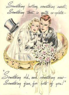 Vintage Postcards Old Weddings Something Laminae Retro Decoupage Wedding Cards