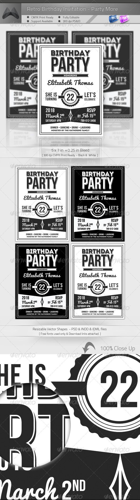 Retro Birthday Invitation Party More Retro Birthday Badge - Retro birthday invitation template