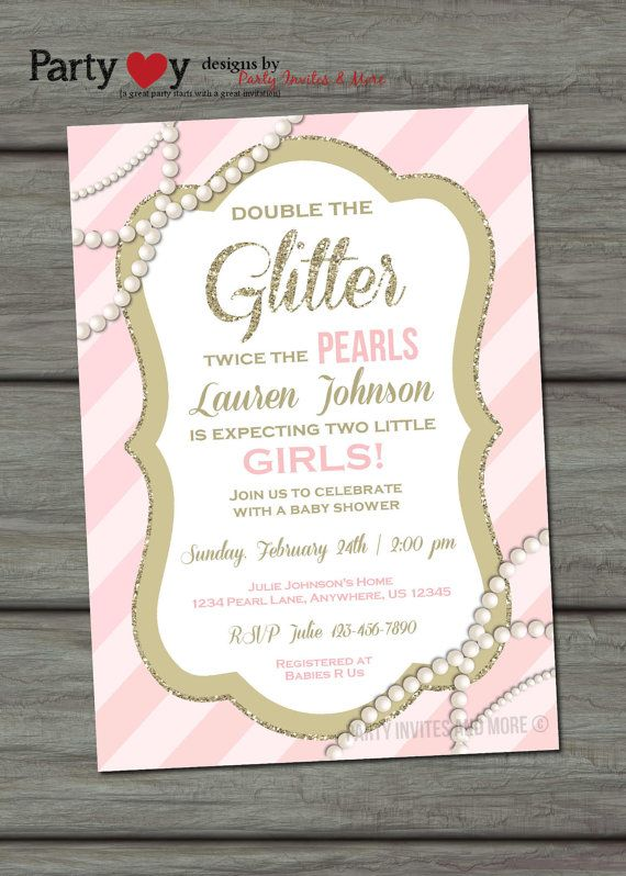 Twins Baby Shower Invitation Glitter And Pearls Invitation Baby