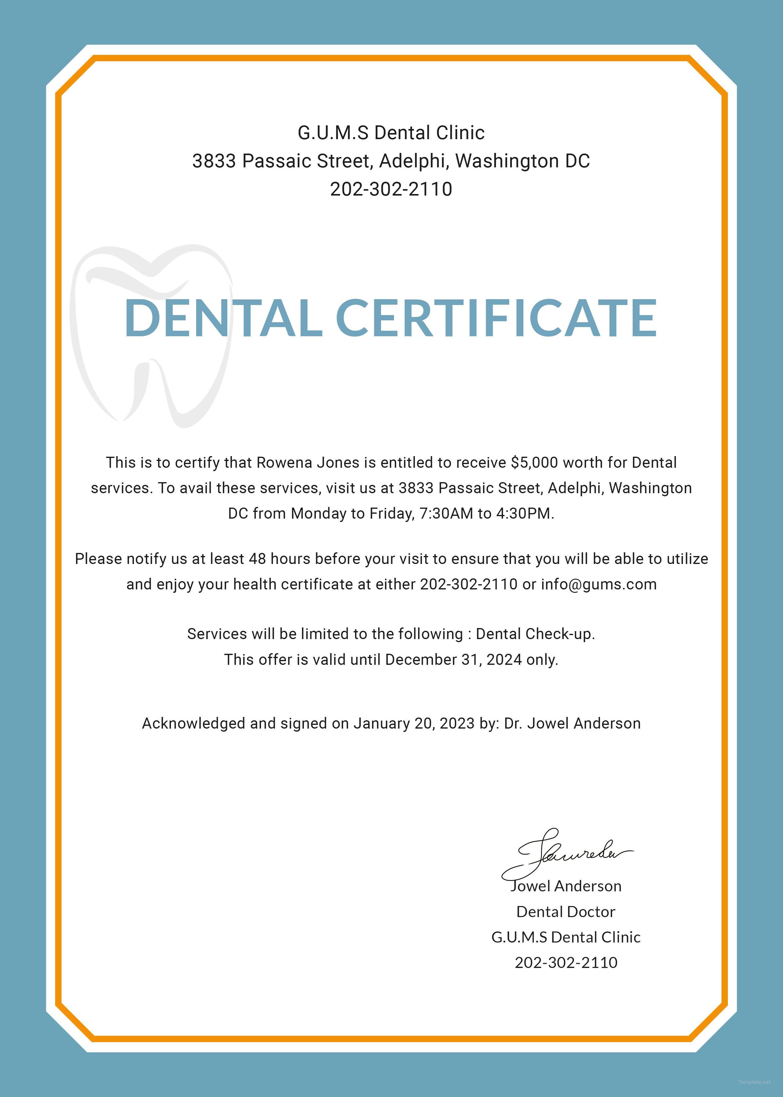 A7DF3 Medical Certificate Sample