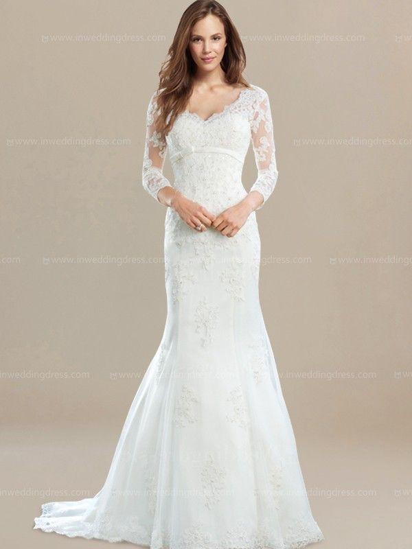 3 4 Sleeves Vintage Inspired Wedding Dress De360 Empire Wedding Dress Empire Waist Wedding Dress Vintage Inspired Wedding Dresses